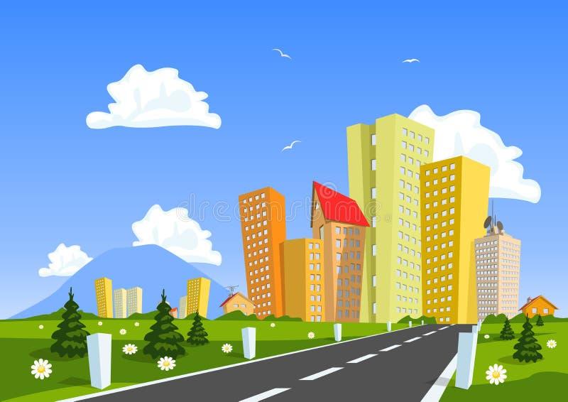 Route par la campagne dans la ville illustration libre de droits
