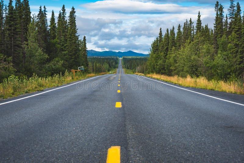 Route par la forêt de Richardson Highway en Alaska images stock