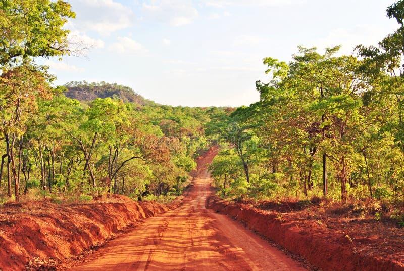 Route par la région sauvage de la Mozambique du nord image stock