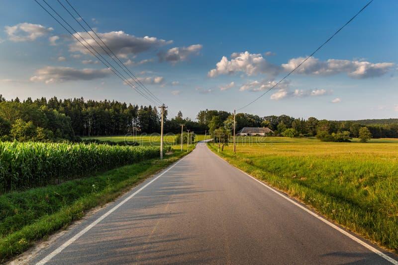 Route par le champ et nuages sur le ciel bleu dans le jour d'été photos stock