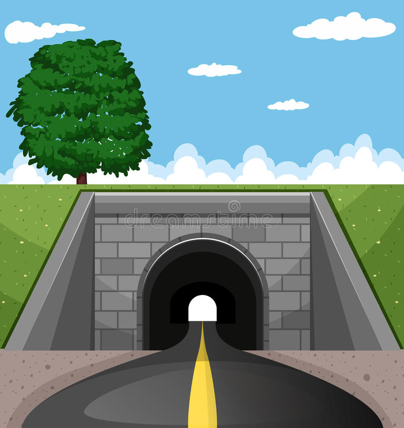 Route passant par le tunnel illustration de vecteur