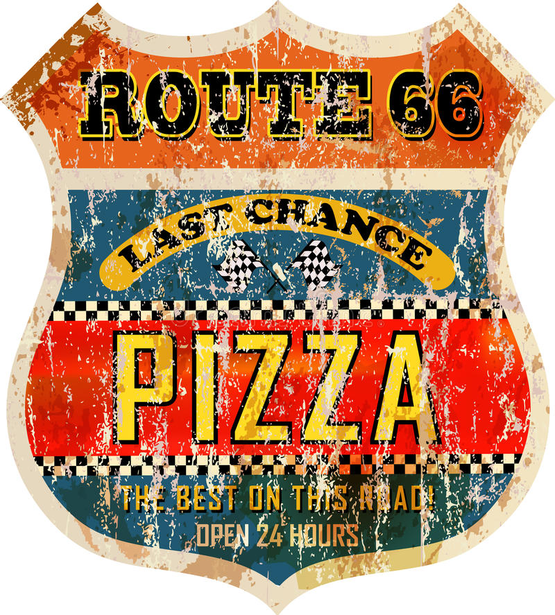 Route 66 pizza sign vector illustration