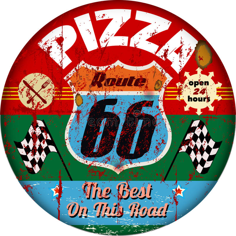 Route 66 pizzeria sign royalty free illustration