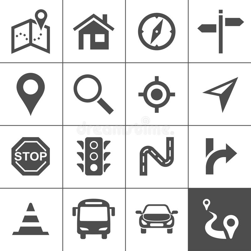 Route planning and transportation icons vector illustration