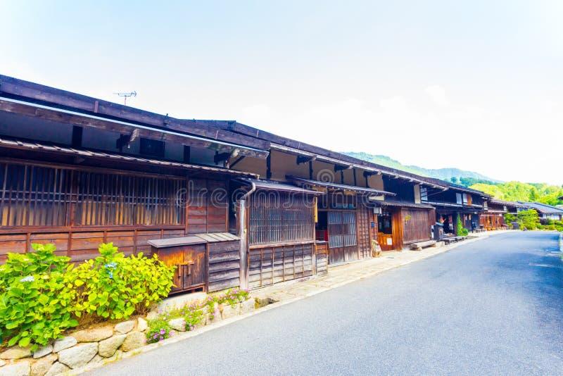 Route principale japonaise reliée de Tsumago de Chambres en bois photos libres de droits