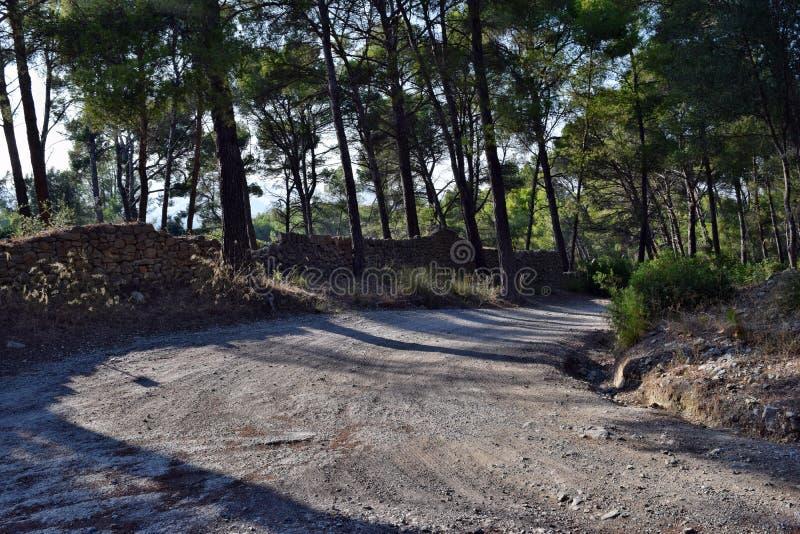 Route, promenade de voie jusqu'au dessus de la montagne Puig de Sant Marti images libres de droits