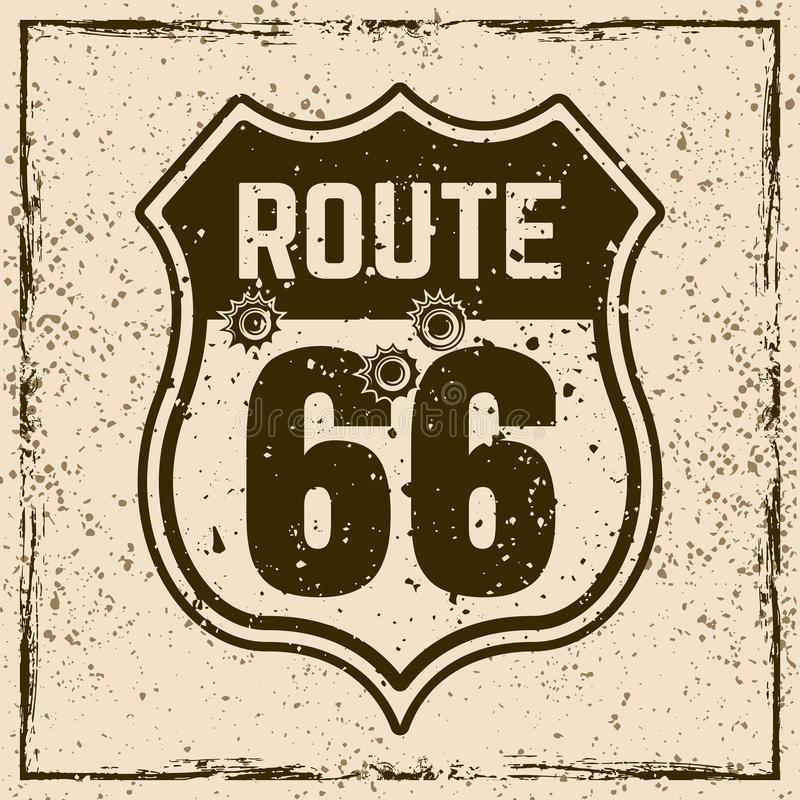 Route 66 road vintage sign with bullet holes. Route 66 road sign with bullet holes vector illustration on background with grunge textures and frame stock illustration
