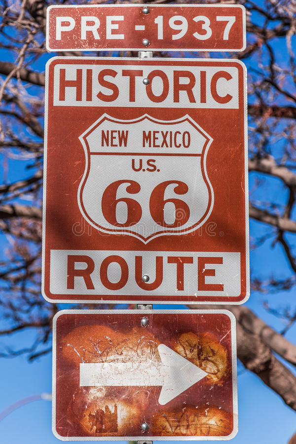 Route 66, Santa Fe, New Mexico. Historic route 66 route marker sign in New Mexico royalty free stock photo