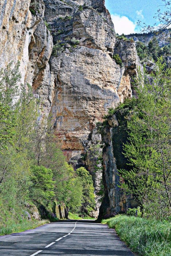 Route sauvage Au sud de la France, Lozère, gorge du le Tarn photographie stock
