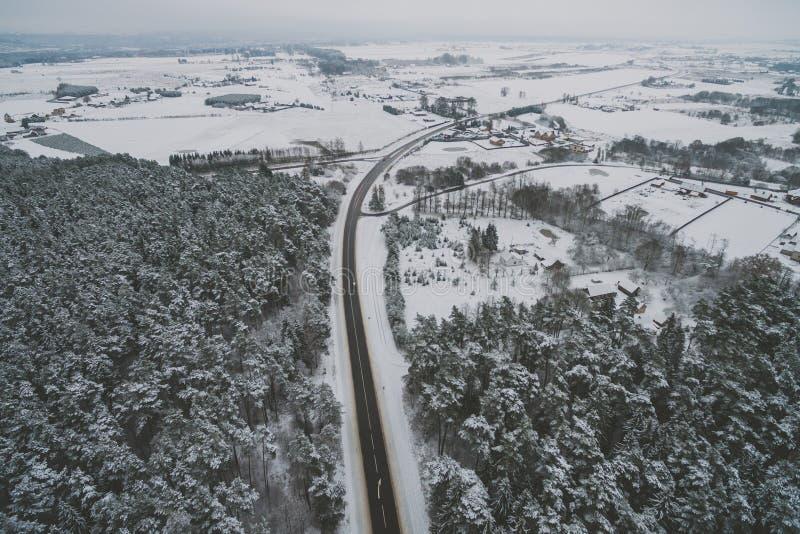 Route, scène d'hiver photographie stock