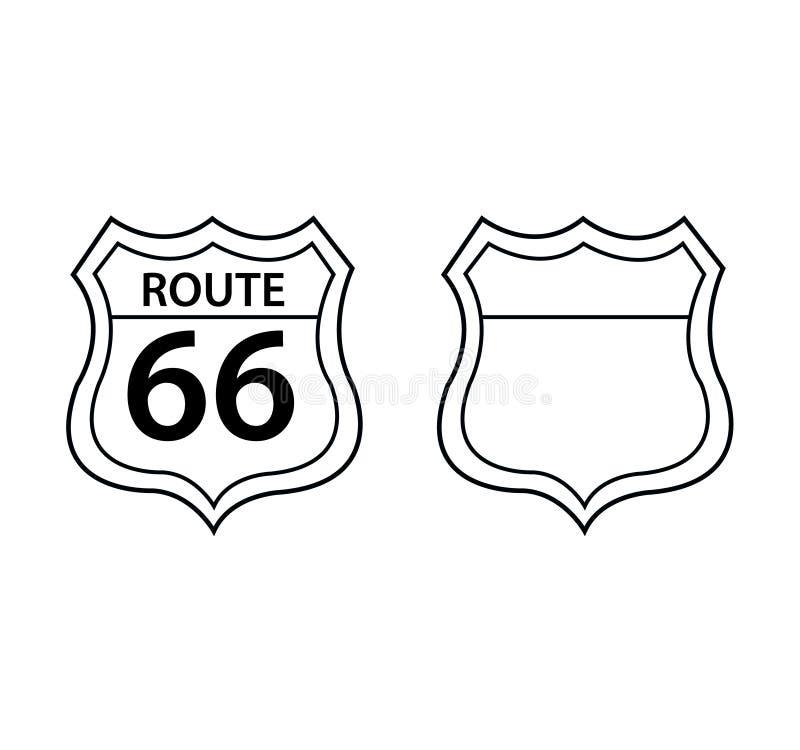 Route 66 -Schildverkehrs-Verkehrsschilder lizenzfreie abbildung
