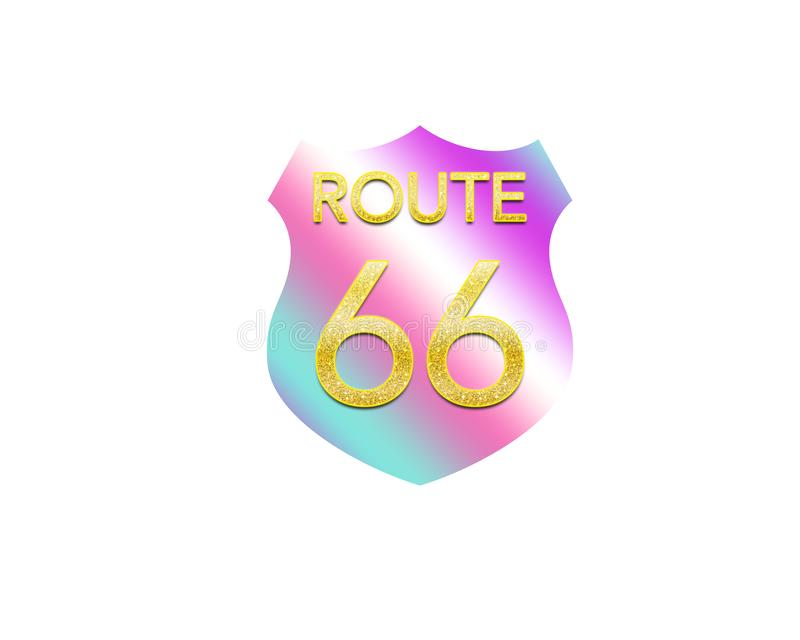 Route 66 sign colorful. U.S. Route 66 highway shield sign graphic artwork stock illustration
