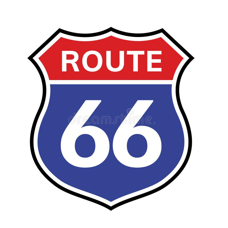 66 route sign icon. Vector road 66 highway interstate american freeway us california route symbol royalty free illustration