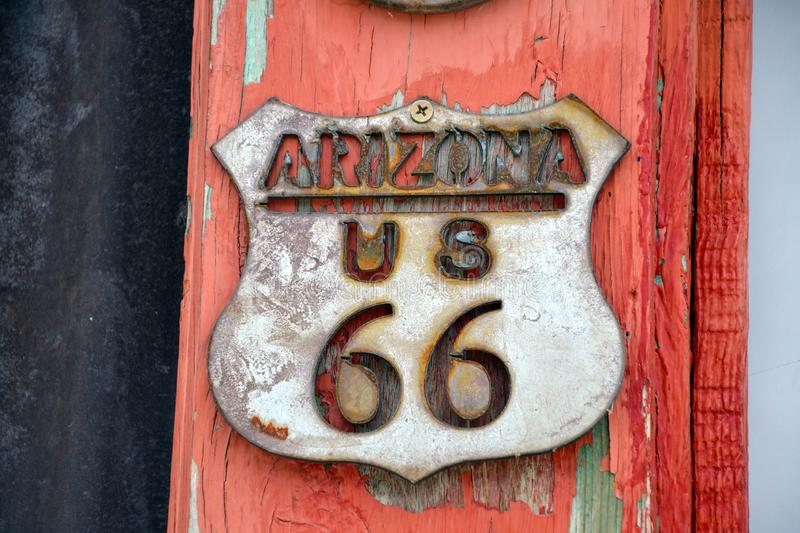 Route 66 sign, Arizon, United States. Old route 66 sign, Arizona, United Stated of America royalty free stock photography