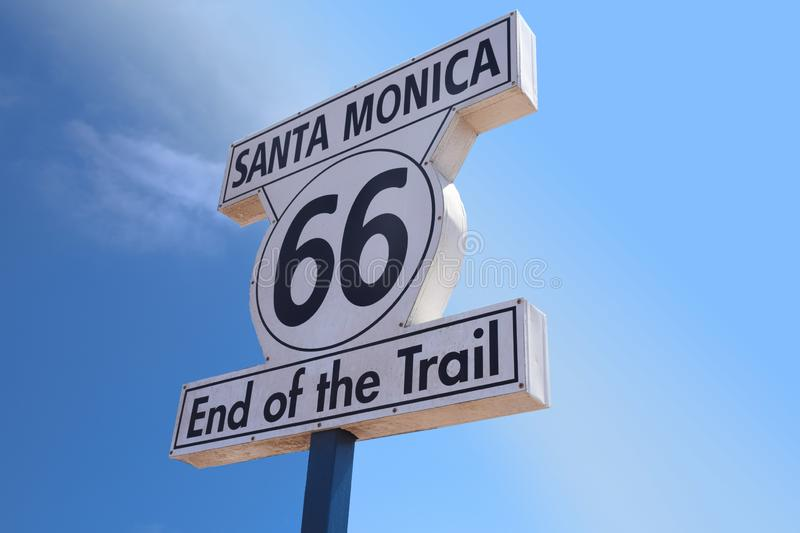 The Route 66 Sign Santa Monica Pier royalty free stock images
