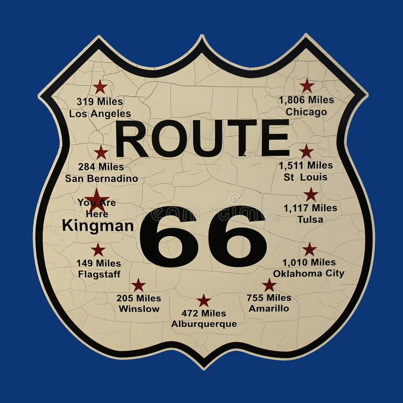 Route 66 Sign, US Highway 66, United States. Historic U.S. Route 66 sign on blue background. US Highway 66. Kingman, Arizona. United States royalty free stock photos