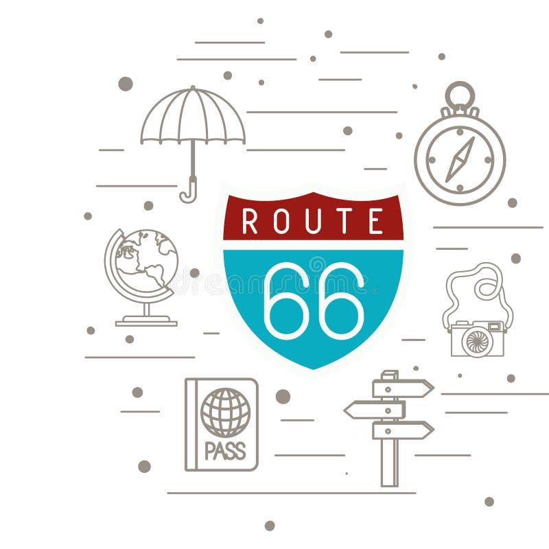 Route 66 signal med fastställda symboler för lopp stock illustrationer