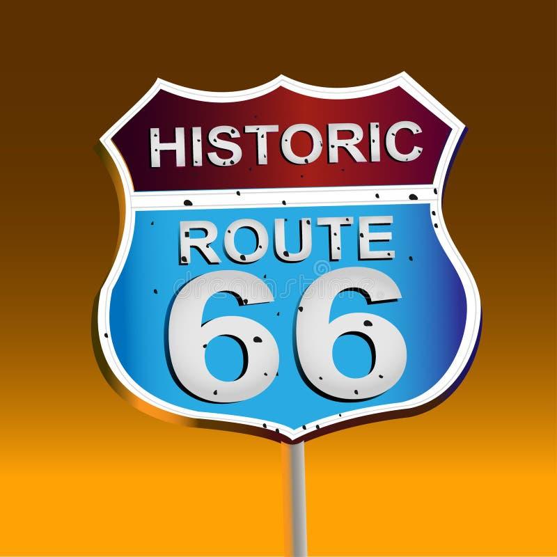 Route 66, sinal 66 Sinal de estrada histórico ilustração royalty free