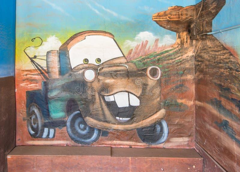 Route 66: Sir Tow Mater Mural, Blauw slikt Motel, Tucumcari, NM stock afbeeldingen