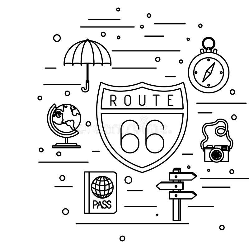 Route 66 sygnał z podróży ustalonymi ikonami ilustracja wektor