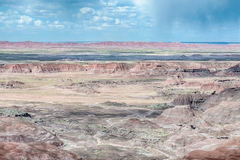 Route 66: Tawa punktstorm, målad öken, förstenades Forest Nat royaltyfria bilder