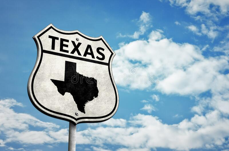 Route 66 Texas map roadsign. Route 66 Texas map road sign stock photo