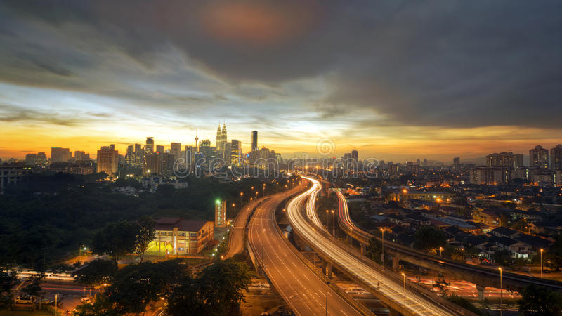 Route to Kuala Lumpur city stock images