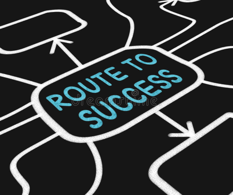 Route To Success Diagram Shows Path For royalty free illustration