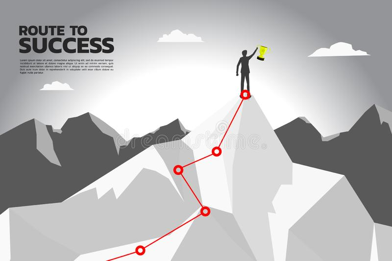 Route to success. silhouette of businessman with champion trophy on the top of mountain. royalty free illustration