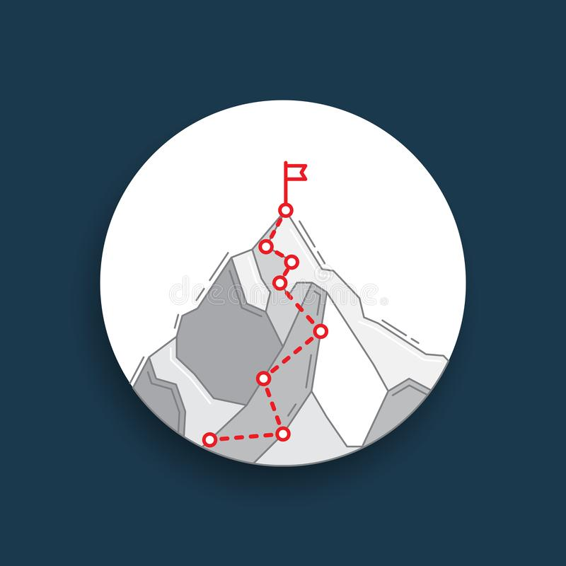 Route to the top of mountain concept of business journey vector illustration