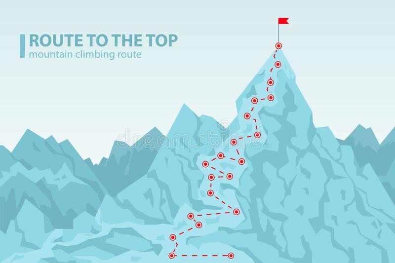 Route to the top mounting climbing vector illustration. Route to the top mounting climbing, poster depicting mount and pole with red flag on its top, headline vector illustration