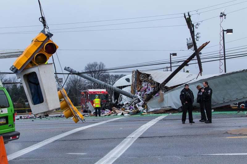 Route 30 Truck Accident stock photography