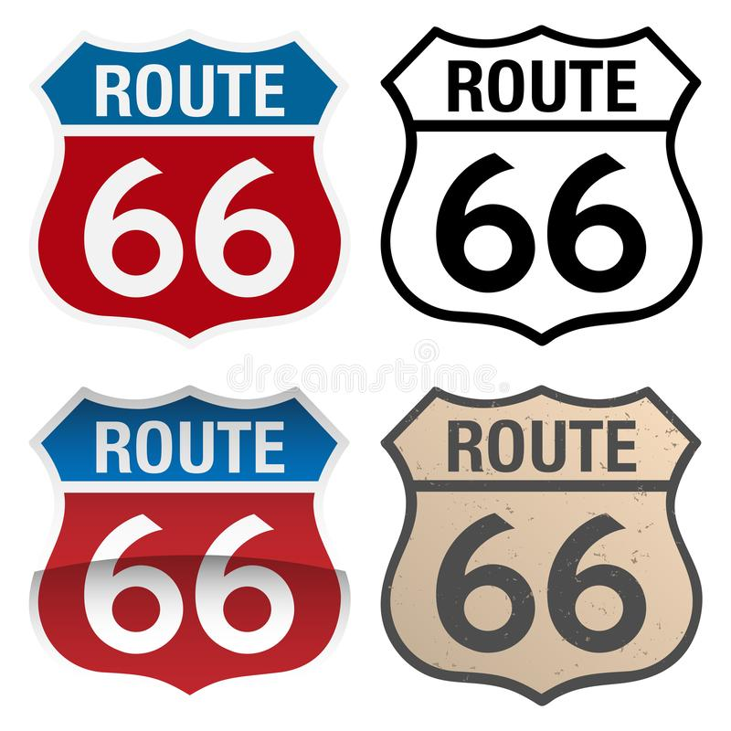Route 66 vector signs illustration, in full color, black and white and antique versions stock illustration