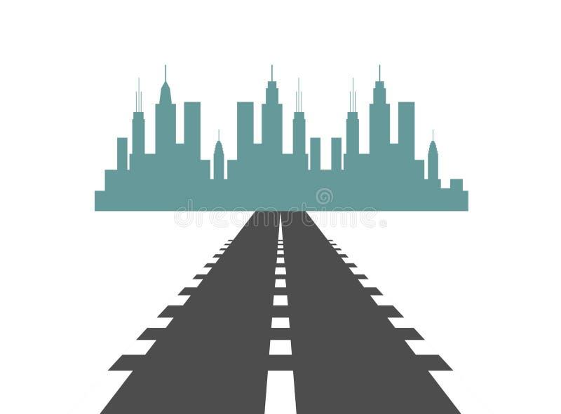 Route vers la ville Skyscrapper View Cityscape Background Skyline Silhouette with Copy Space illustration libre de droits