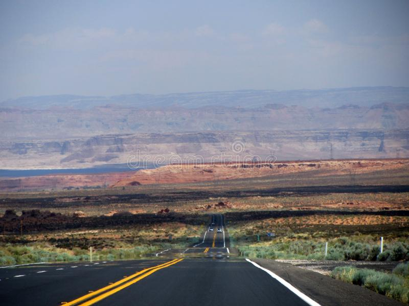 Route vers le lac Powell photo stock