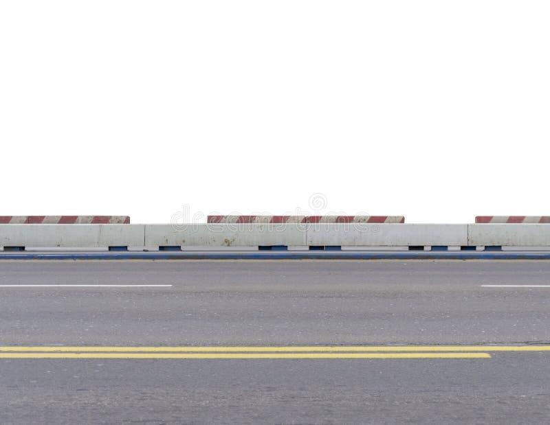 Route vide de pont de ville d'asphalte d'isolement sur le blanc images libres de droits