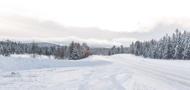 Route vide en hiver photographie stock libre de droits