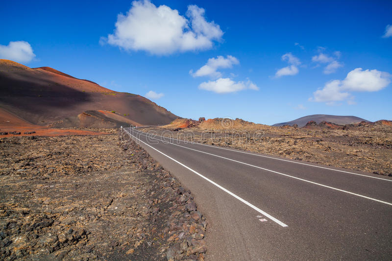 Route vide Lanzarote, Îles Canaries photo stock