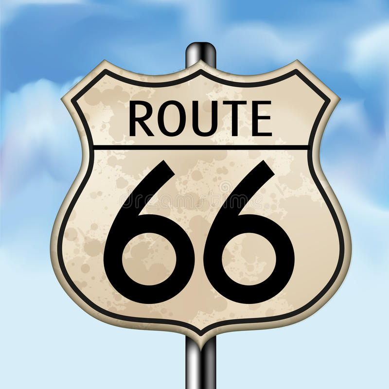 Route 66. View of a historic Route 66 sign with a sky. Vector illustration EPS 10 vector illustration