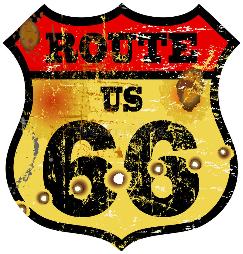Route 66. Vintage route 66 road sign, bullet holes, vector illustration stock illustration