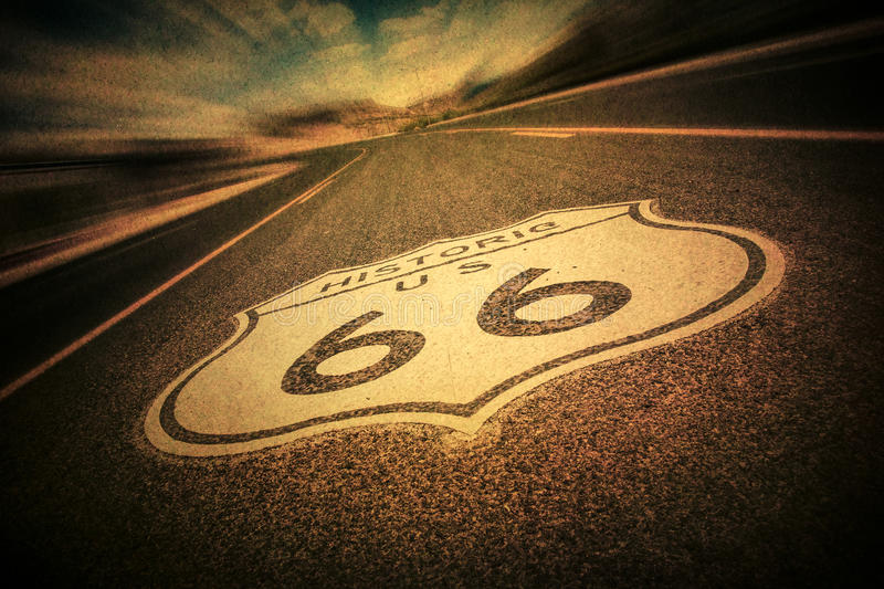 Route 66 Vintage Style. Route 66 road sign with vintage texture effect royalty free stock photos
