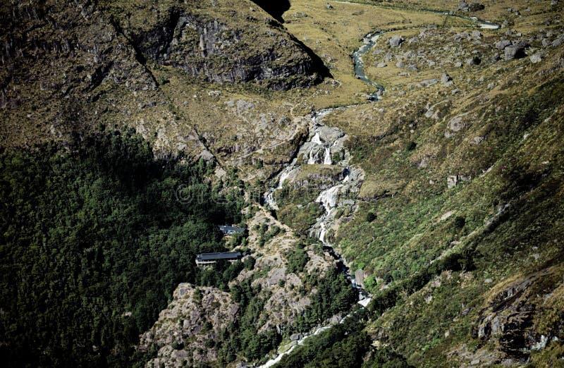 Routeburn Falls and Lodge stock photo