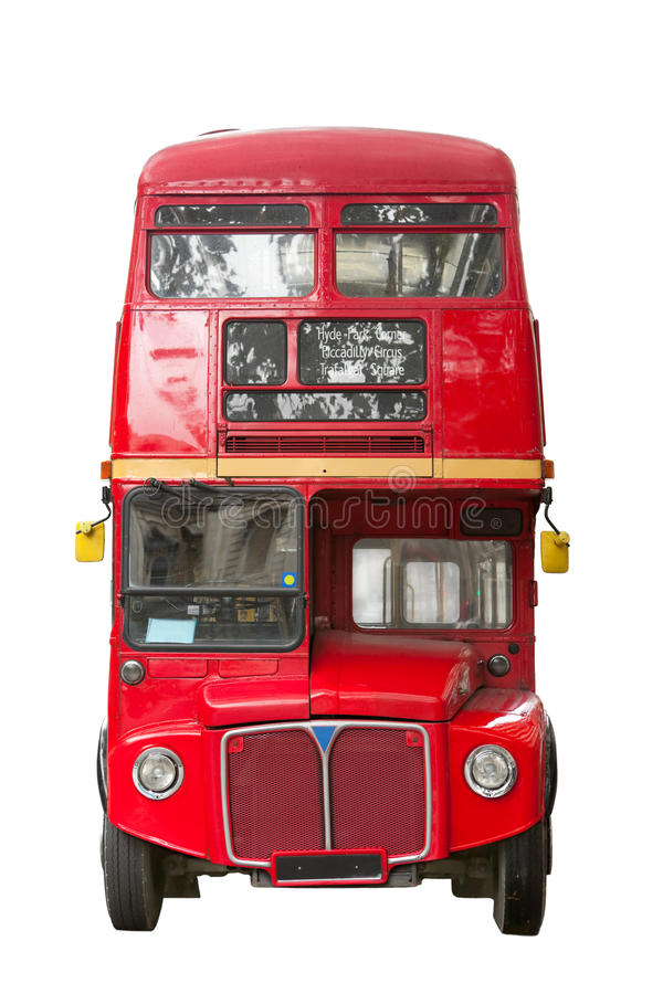 Routemaster. Classic London Red Routemaster bus isolated on white stock photos