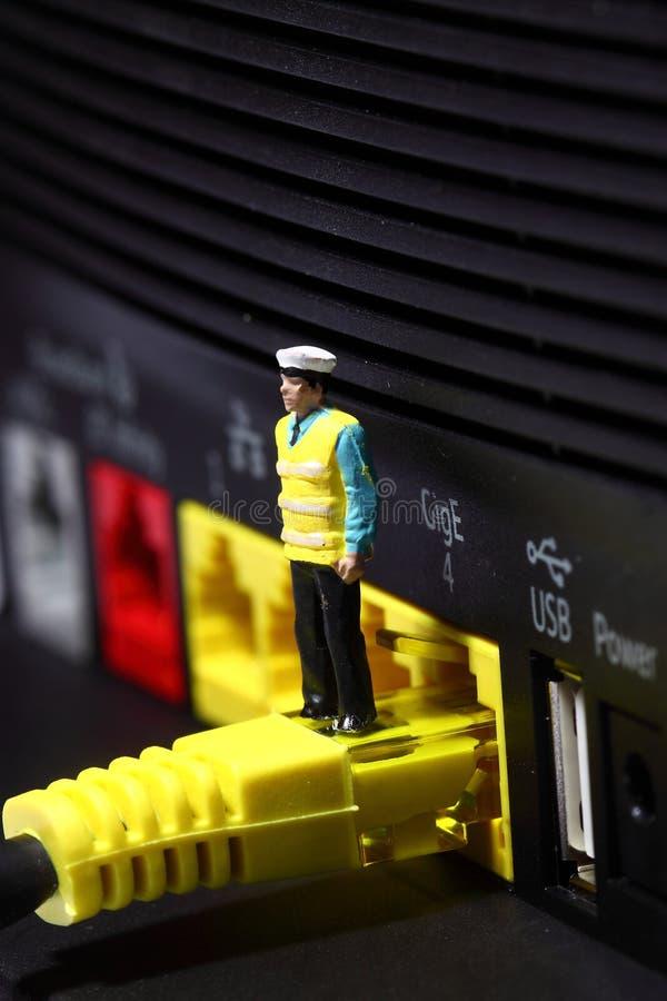 Router B för säkerhetsman royaltyfri fotografi