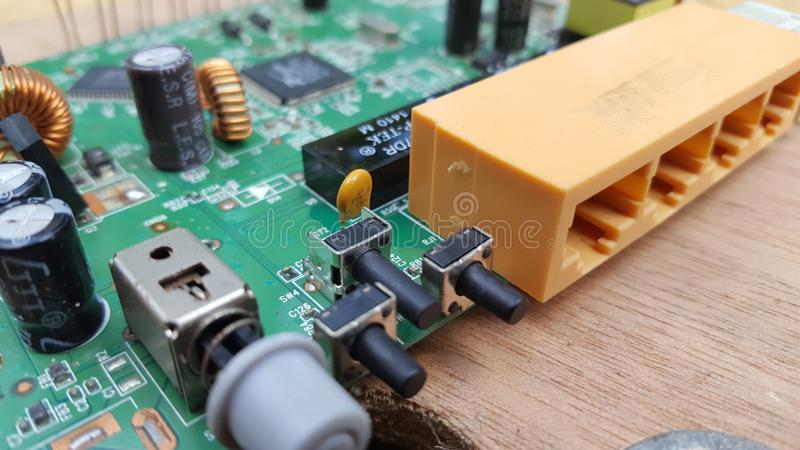 The router board is open, one of the wireless technologies royalty free stock image