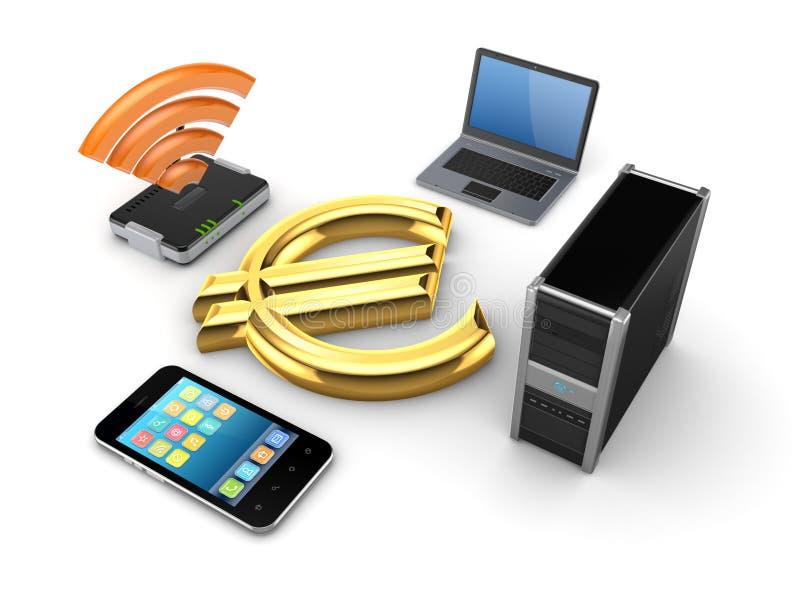 Router, caderno, PC, telefone móvel e euro- sinal. ilustração do vetor