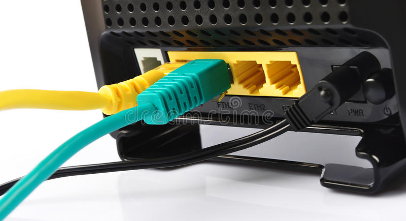 Router con los alambres foto de archivo libre de regalías