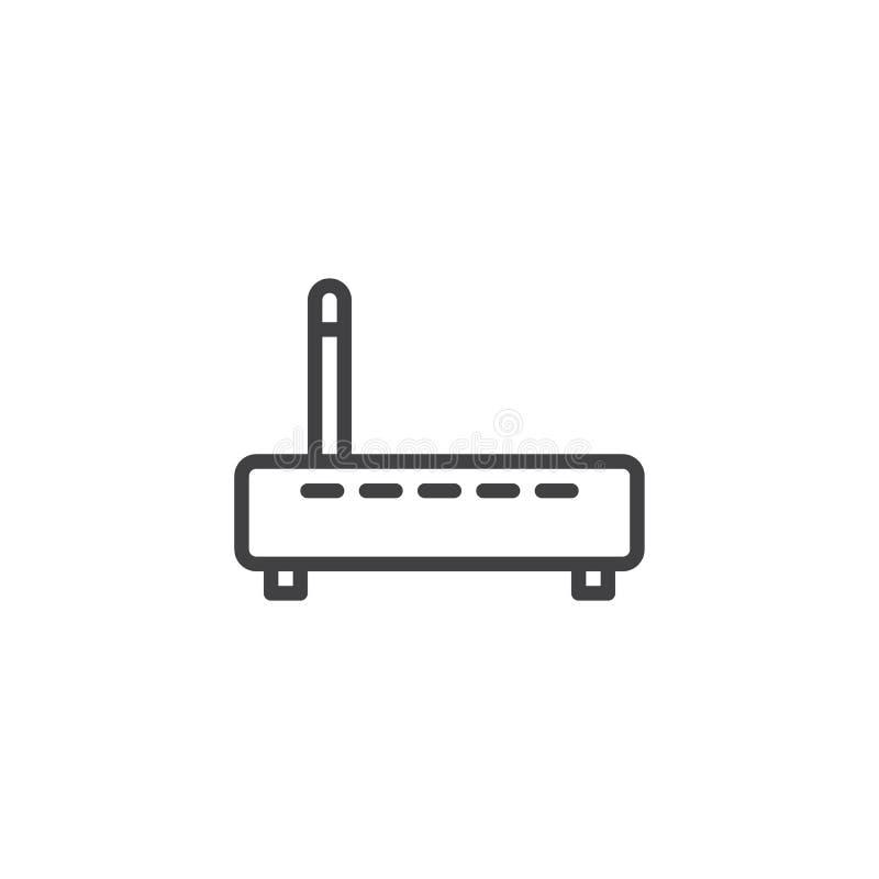 Router de Wifi con la l?nea icono de la antena ilustración del vector