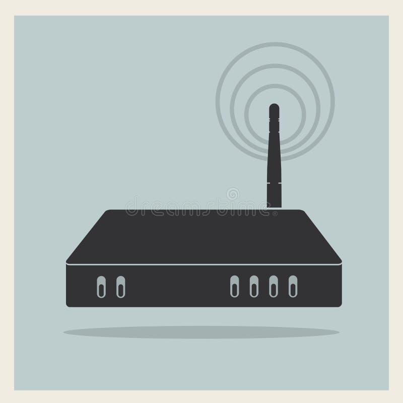 Router di Wi-Fi sul retro vettore del fondo illustrazione vettoriale