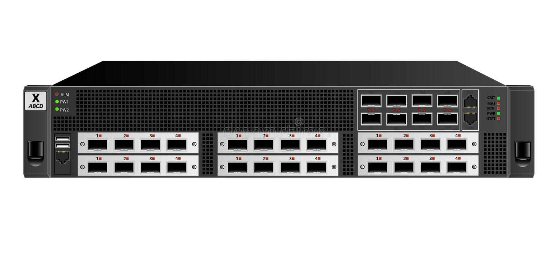Router do tráfego do IP para a instalação em uma cremalheira de 19 polegadas, 2 unidades cor preta Seis módulos auxiliares opcion ilustração royalty free